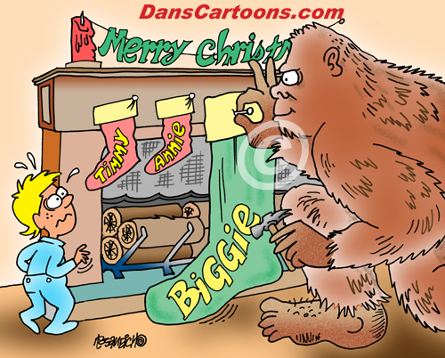 Bigfoot Cartoon 02 a Cartoon Image and funny joke for license by Dan Rosandich