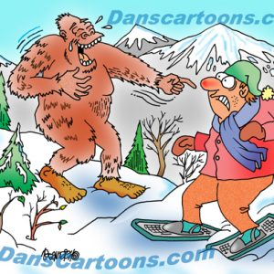 Bigfoot Cartoon 05 a Cartoon Image and funny joke for license by Dan Rosandich