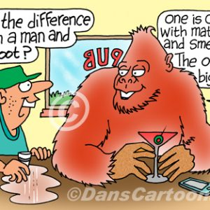 Bigfoot Cartoon 07 a Cartoon Image and funny joke for license by Dan Rosandich
