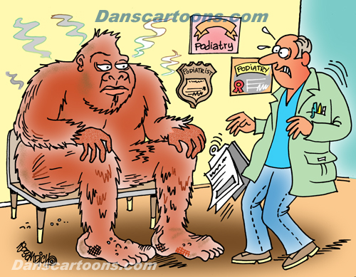 Bigfoot Cartoon 09 a Cartoon Image and funny joke for license by Dan Rosandich