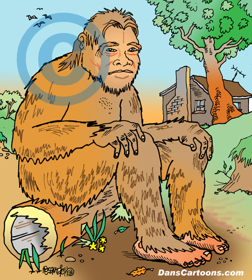 Bigfoot Cartoon 17 a Cartoon Image and funny joke for license by Dan Rosandich