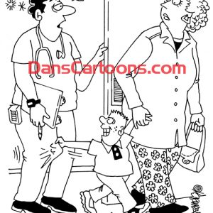 Pediatrician Cartoon 092 a Cartoon Image and funny joke for license by Dan Rosandich