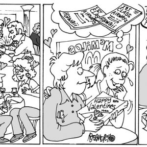 Dating Comic Strip  a Cartoon comic strip for license by Dan Rosandich