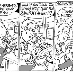 Telemarketer Comic Strip 1  a Cartoon comic strip for license by Dan Rosandich