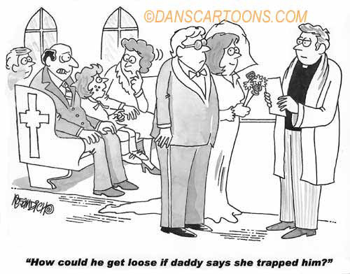 Wedding Marraige Cartoon 12    a Cartoon Image and funny joke in the genre of marriage. Images for license by Dan Rosandich