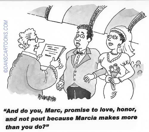 Wedding Marraige Cartoon 20    a Cartoon Image and funny joke in the genre of marriage. Images for license by Dan Rosandich