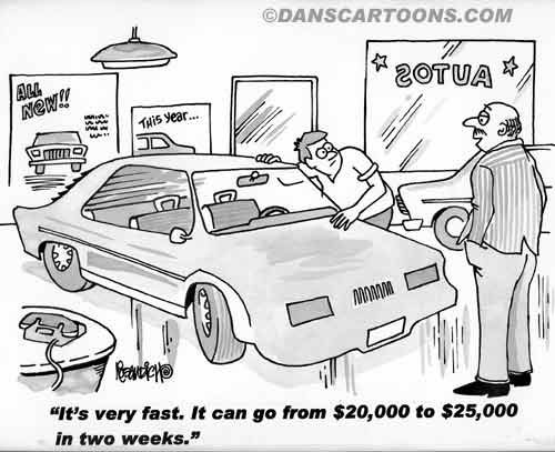 Car Automobile Cartoon 08 a Cartoon Image and funny joke in the genre of cars and automobiles. Images for license by Dan Rosandich