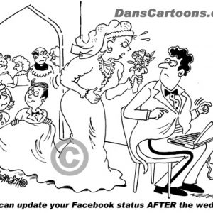 cartoon about groom updating his Facebook status