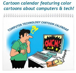 computer cartoon calendar