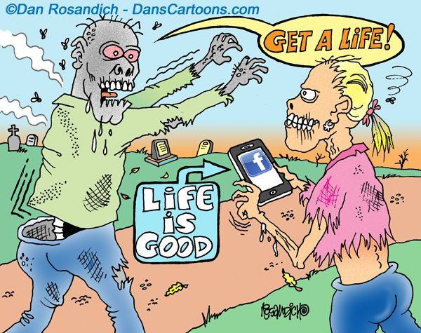 zombie on facebook cartoon