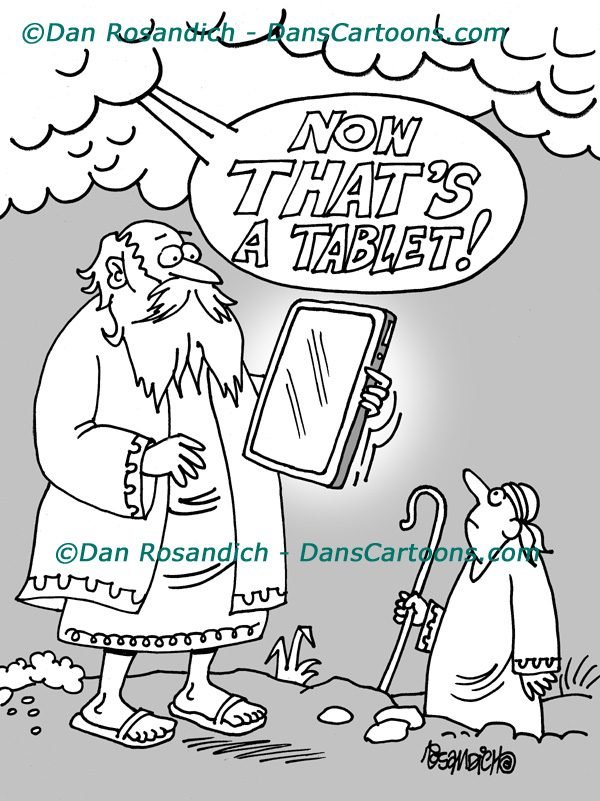 moses holding digital tablet