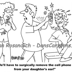 cellular phone stuck to girl's ear