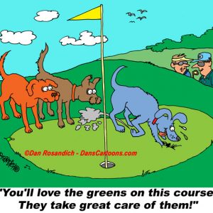 dog digs up golf green